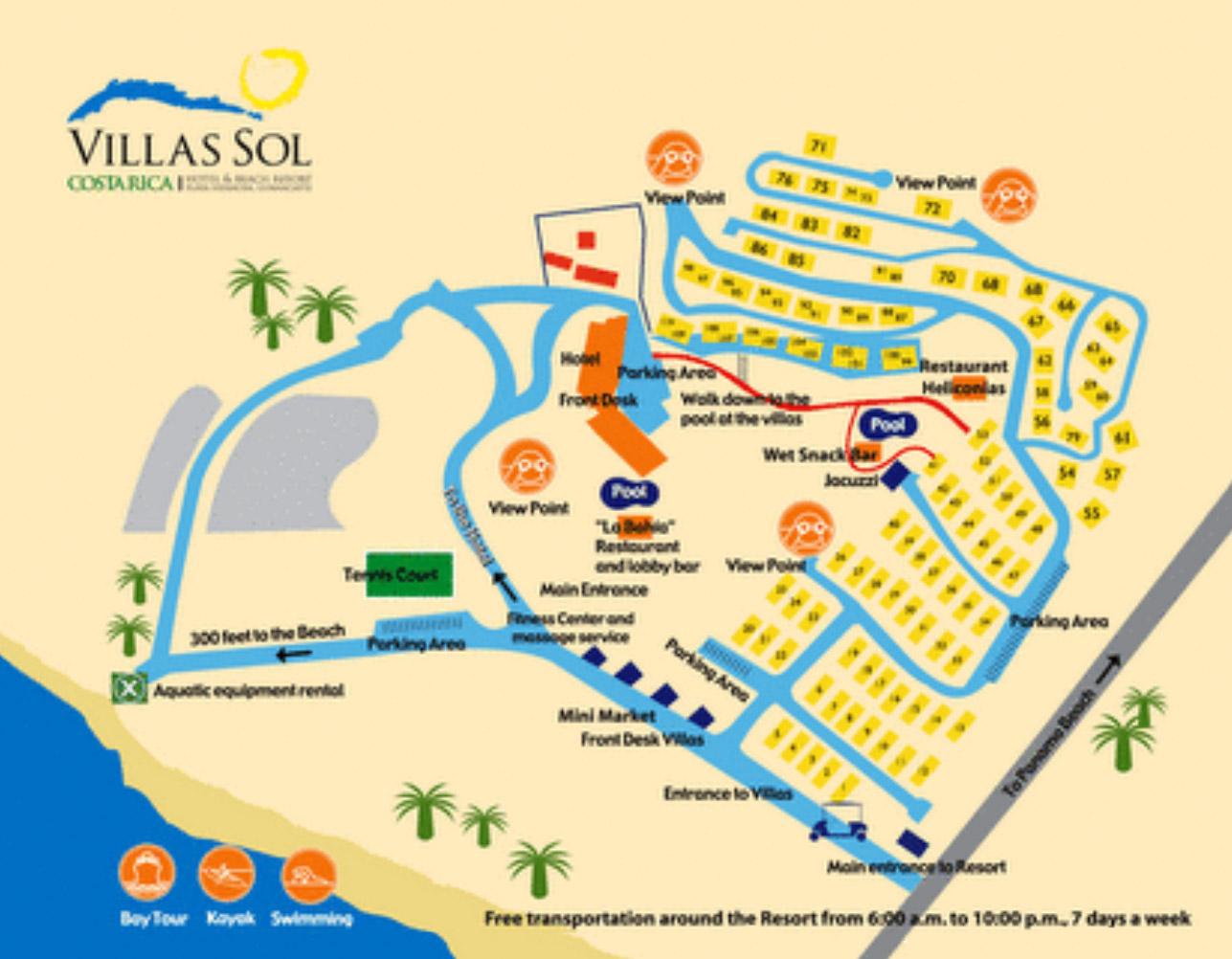 Liberia Costa Rica Map Villas Sol Hotel And Beach Resort