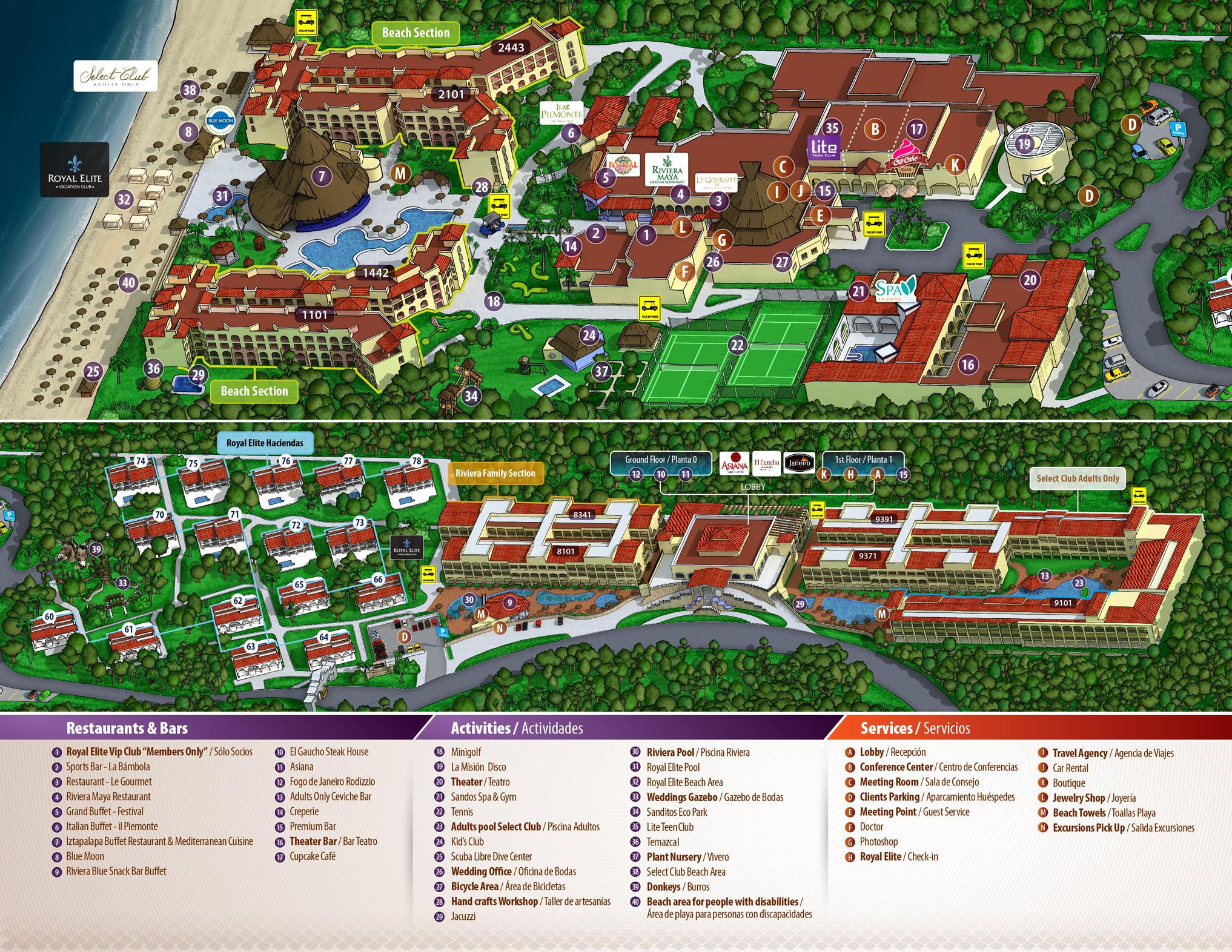 Sandos Papagayo Beach Resort Hotel Map%0A Sandos Playacar Beach