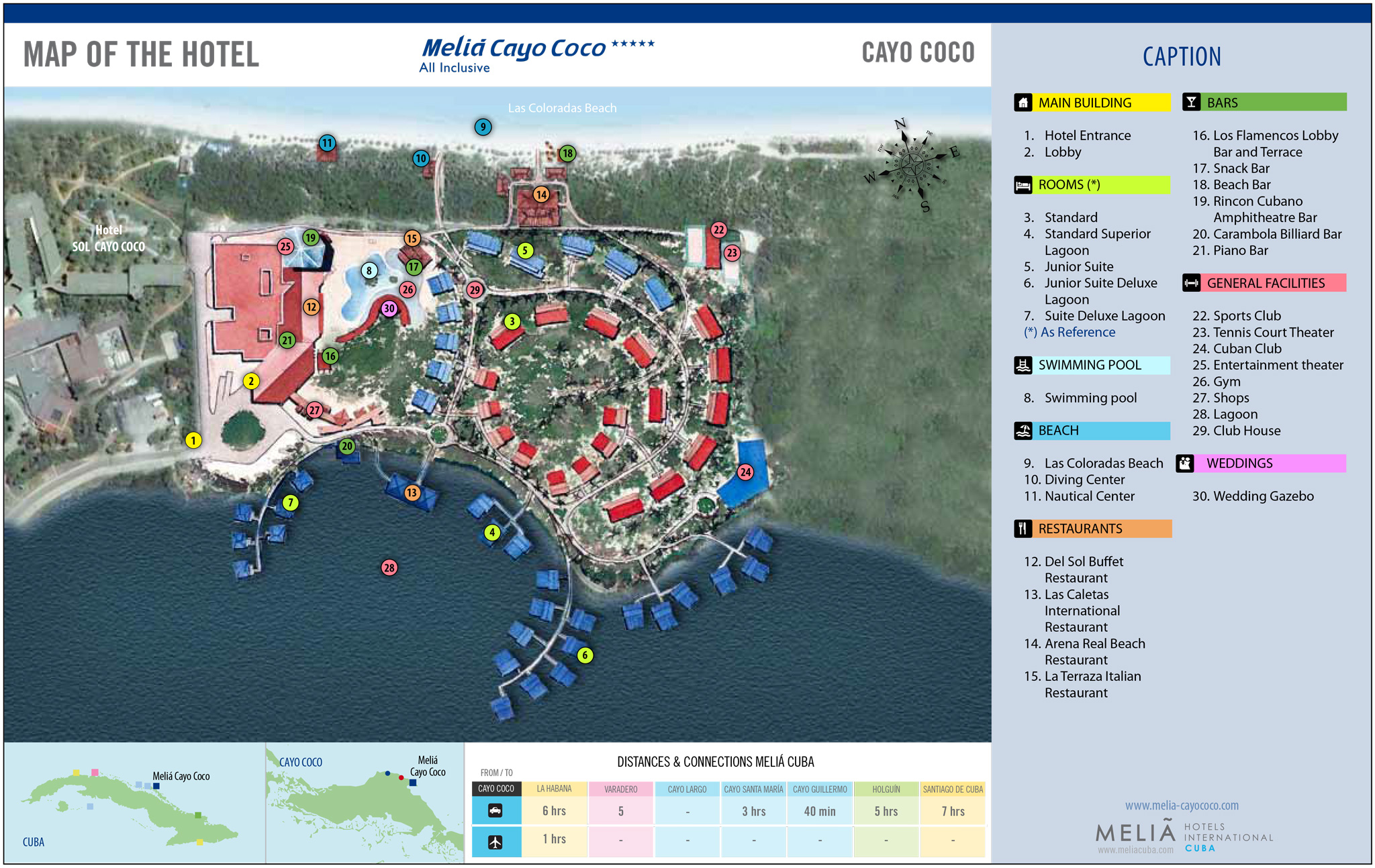 Melia cayo coco resort map images for Site des hotels